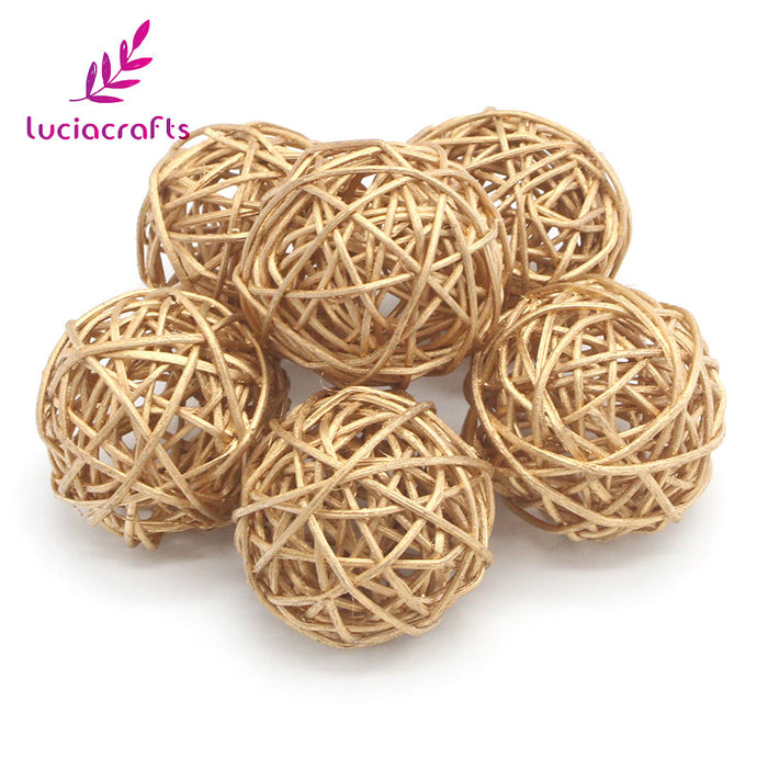 Lucia crafts 6pcs 3cm/5cm Gold Vintage Wicker Cane Ball Christmas Home Gardens Patio Ornament DIY Decoration Materials 024006