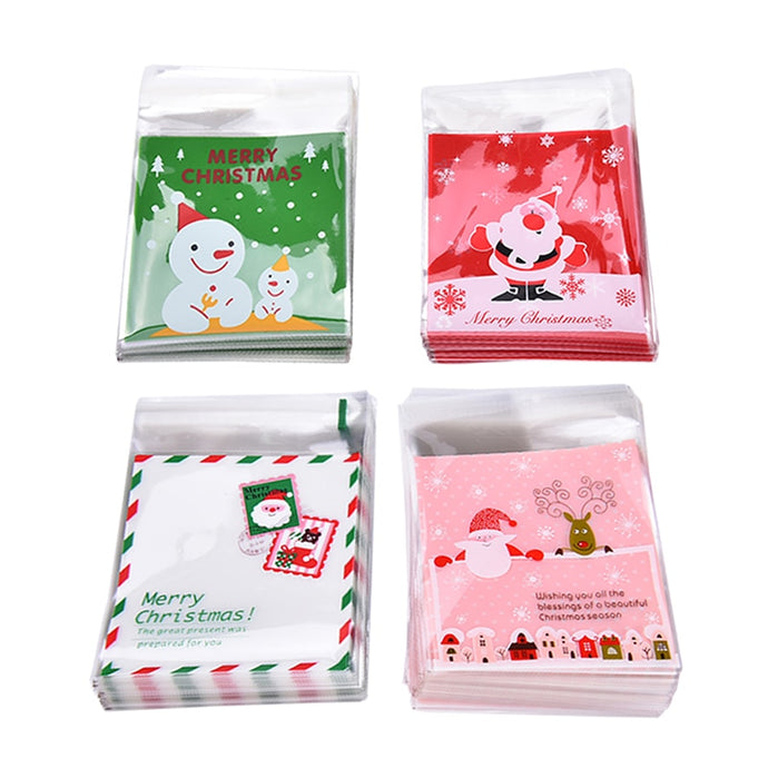 100pcs=1 Bag self-adhesive Candy Bags 4 Types Christmas Santa Claus Snowman Gifts Cookie packaging bags for  Xmas Decoration