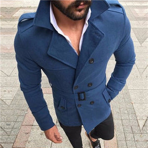 Wool Trench Coat Outerwear Turn-Down Collar England Double Breasted Slim Fit Wool Overcoat with Belt Men Jacket casaco masculino