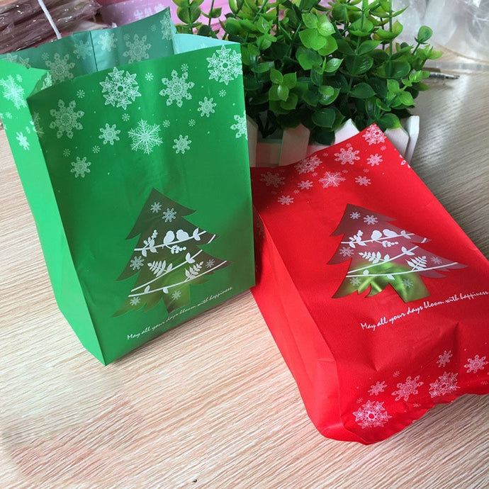 50pcs Red/Green Christmas Gift Bags Candy Box With Snowflake Xmas Dessert Cookie Bags Christmas Decorations For Home