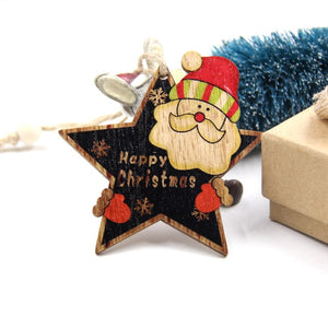 6PCS Cute Christmas Wooden Pendants Ornaments DIY Wood Crafts Blackboard Gift for Xmas Tree Ornament Christmas Party Decorations