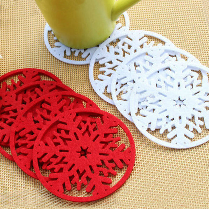 10pcs/lot Merry Christmas Decorations Snowflakes Cup Pad Mat Non-woven Fabric Dinner Party Dish Tray Coffee Pads Home Christmas