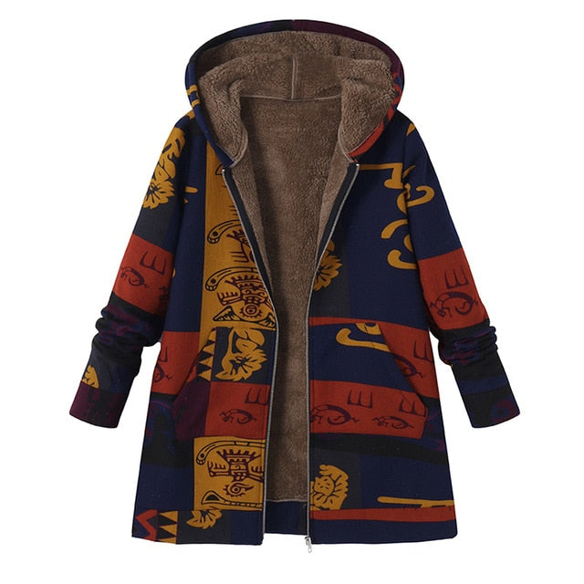 2018 ZANZEA Fashion Long Sleeve Hooded Winter Thicken Warm Coat Women Plus Size L 5XL Faux Fluffy Ethnic Printed Basic Outerwear