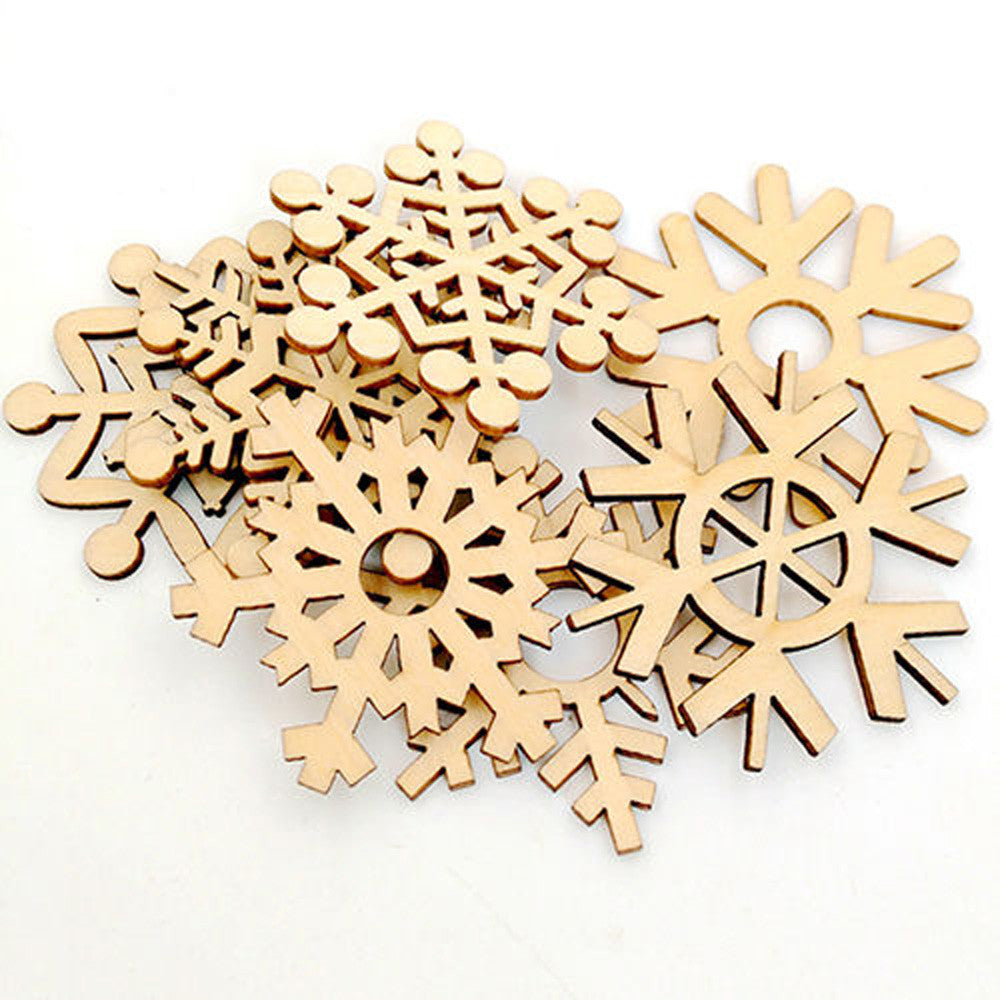 New year 10Pcs Wooden Snowflake christmas gift Tree Hanging Ornament New-Year tree decorations home christmas hanging ornaments
