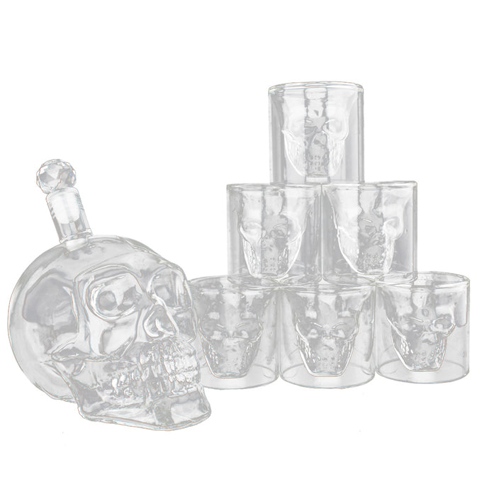 Skeleton Shaped Glass Cup Drinking Glassware Drinkware Whiskey and Liquor Decanter Gift Set 6 Double Walled Glasses