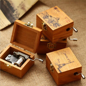 Wood Music Box Children Musical Hand Instrument Music Boxes for Christmas Happy Birthday New Year Gift Toy Home Decoration