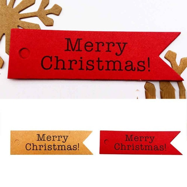 100PCS Kraft Paper Hang Tags Label Xmas Gift  Craft Card String Christmas Tree Creative Decor