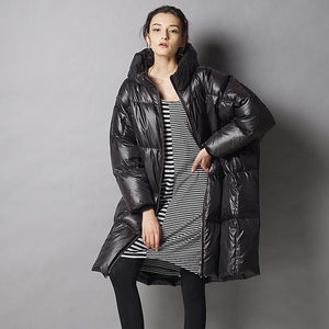 7XL plus size 2018 winter fashion brand hooded 90% duck down jacket female longer thicker down feather filler warm coat wj1469