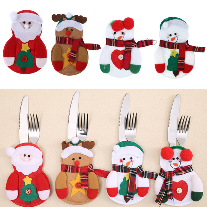 1 PC Santa Claus Snowman Elk Style Utensil Knives Forks Holder Cutlery Bag Pouch Christmas New Year Decor Tableware Supplies