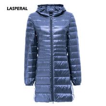LASPERAL 2018 Womens Fashion Winter Light Down Jacket 90% Duck Down Hooded Jackets Long Warm Slim Coat Winter Jacket Women Parka