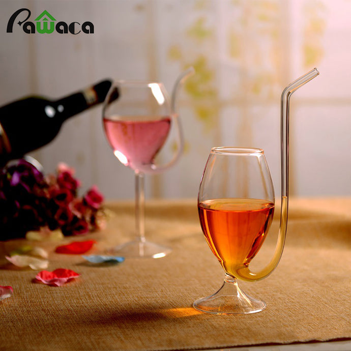 Wine Glass Cup Transparent Glassware Mug Cocktail Straw Cup with Built in Drinking Tube Straw for Home bar Party