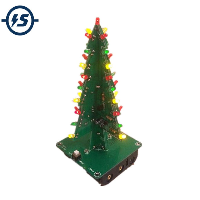Three-Dimensional 3D Tree LED DIY Kit Red/Green/Yellow LED Flash Circuit Parts Electronic Fun Suite Gift