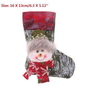Christmas Stockings Santa Claus Sock Gift Kids Candy Bag Xmas Noel Decoration for Home Christmas Tree Ornaments