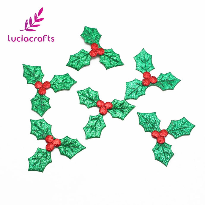 Lucia crafts 50pcs/100pcs 3cm Red Fruit with Green Leaves Christmas Tree Decoration Supplies DIY Art Fabric Accessory 058001009