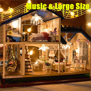 music led light miniature doll house provence dollhouse diy kit wooden house model toy with furniture - Dollhouse Christmas Lights