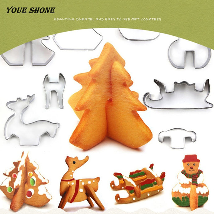 Youe shone 8pcs 3D Christmas Cookie Cutter Stainless Steel Biscuit Bakeware Mould for Kids Pleasure Fondant Cutter BakingTool