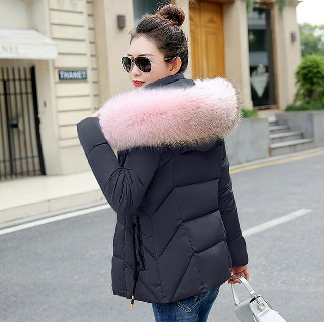 2018 Winter Jacket women Plus Size Womens Parkas Thicken Outerwear solid hooded Coats Short Female Slim Cotton Big fur collar
