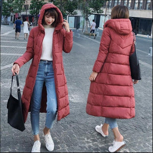 S-6XL New autumn winter Women Plus size Fashion Down long hoodie down Parkas Cotton warm Jackets Thick Female Long coat clothing