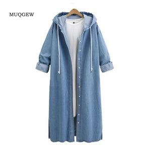 Fashion Women Hooded Casual Long Sleeve Wide-waisted Solid Denim Jacket Long Jean Coat Outwear Overcoats