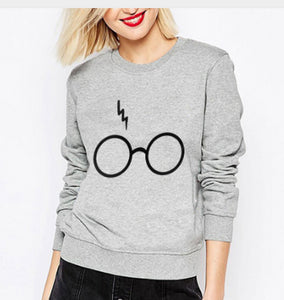 New 2018 summer autmn girl harries Potter glasses and lightning bolt sweatshirts long sleeve pull O-Neck harajuku casual ropa