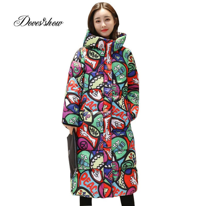 Hooded Colorful Winter Down Coat Jacket Long Warm Women Casaco Feminino Abrigos Mujer Invierno 2018 Parkas Outwear Coats Ru50