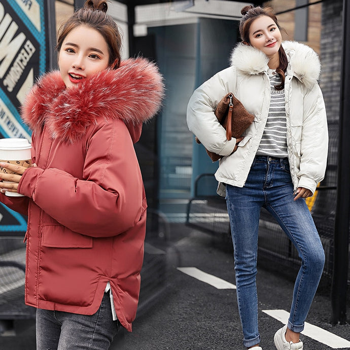 Short Hooded Fur Collar Winter Down Coat Jacket Student Thick Warm Slim Casaco Feminino Abrigos Mujer Invierno Wadded Parkas 07