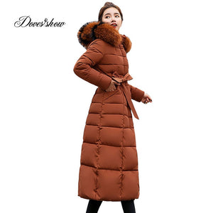 Hooded Fur Collar Winter Down Jacket Long Warm Women Cotton-padded Casaco Feminino Abrigos Mujer Invierno Parkas Outwear 02