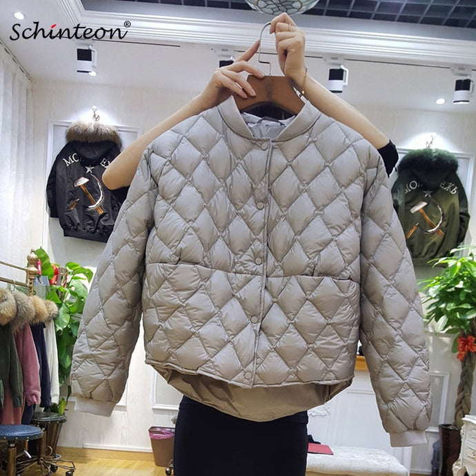 2018 Baseball Down Jacket Women Short White Duck Down Outwear Loose Casual Coat Ultra Light Down Jackets Over Size