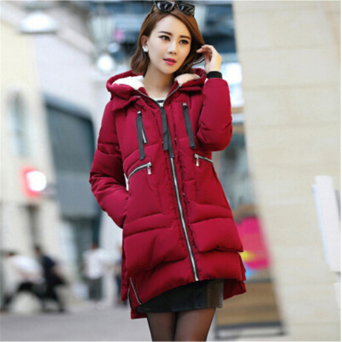 AILOOGE 2017 Winter Jacket Women New Europe Style Fashion Loose Coat female Medium Long Plus Size Down Park Jackets For Women