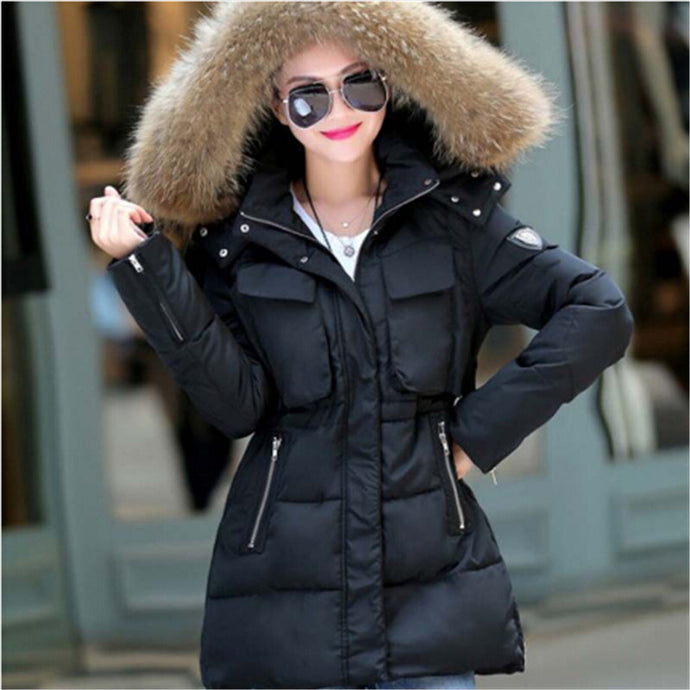 AILOOGE 2017 Winter Jacket Women Thickening Slim Long Cotton Padded Coat Fur Hood Parka Women Manteau Femme