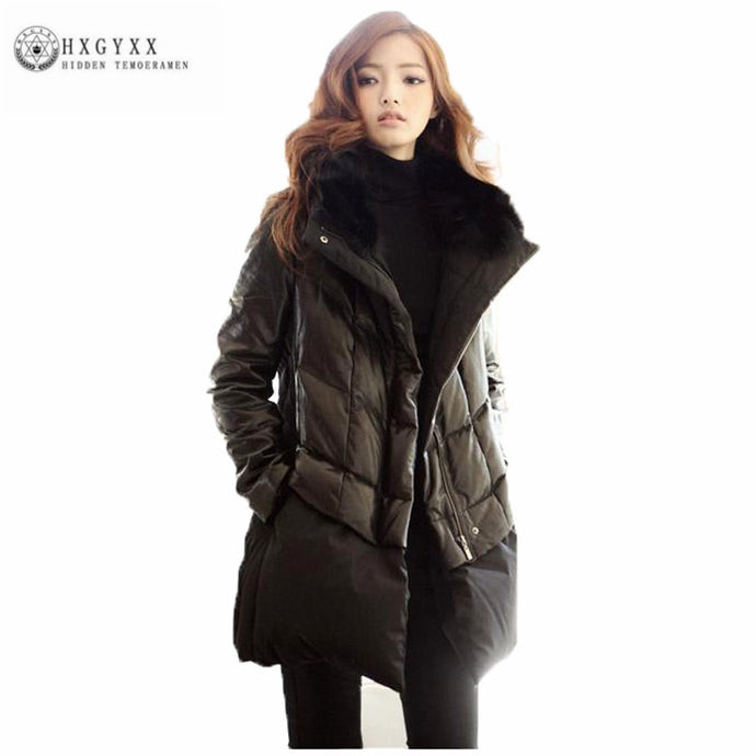 2018 New Winter Loose Plus Size PU Leather Stitching Down Jacket Women Fur Collar Thick Warm Down Coat Feather Outwear Oka768