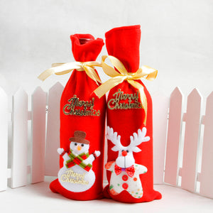 Red Wine Bottle Cover Bags Decoration Home Party Santa Claus Christmas packaging christmas merry christmas decoration