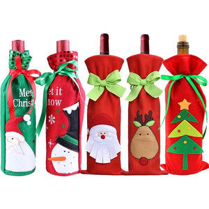 Hoomall Christmas Tree Wine Bottle Cover Bags DIY Xmas Gifts for Children Christmas Kitchen Dinner Table Decoration For Home