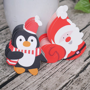 50PCS Kids Santa Claus Penguin Lollipop Christmas Paper Card Candy Xmas Good