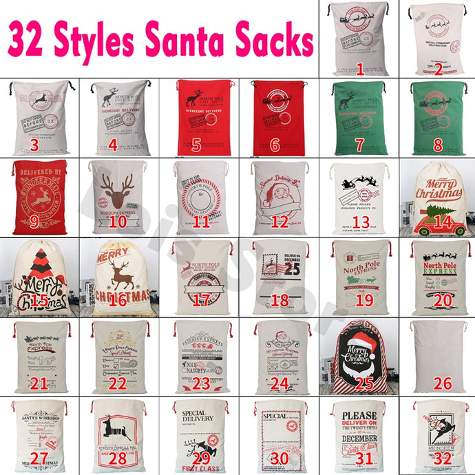 32 Styles Christmas Gift 2018 Santa Sacks 1pc Drawstring Canvas Santa Sack Xmas Canvas Bag Large Santa Claus Gift Bag Handmade