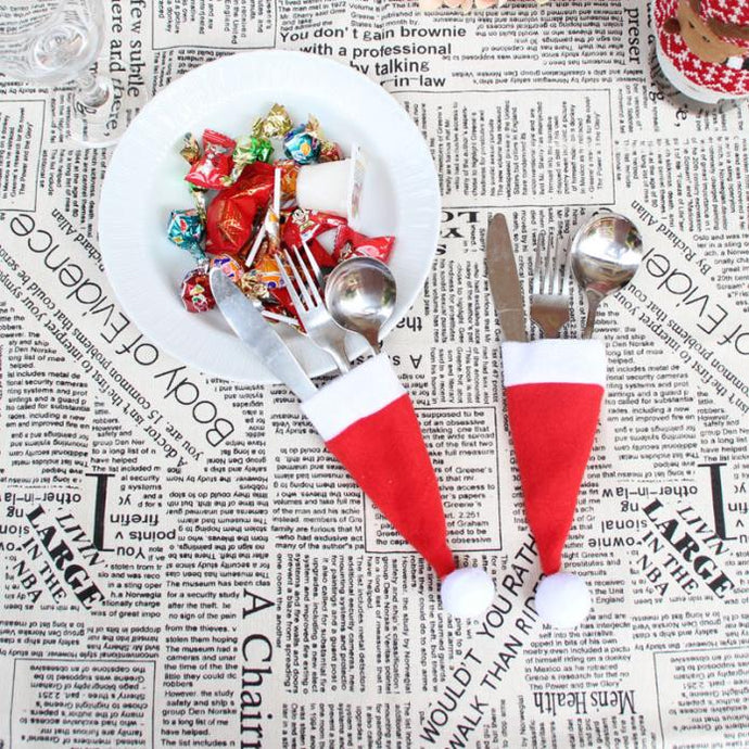 Hot Sale 2018 1PC Christmas Decorative tableware Knife Fork Set Lovely Christmas Hat Storage Tool enfeites de natal Gift 1 pc