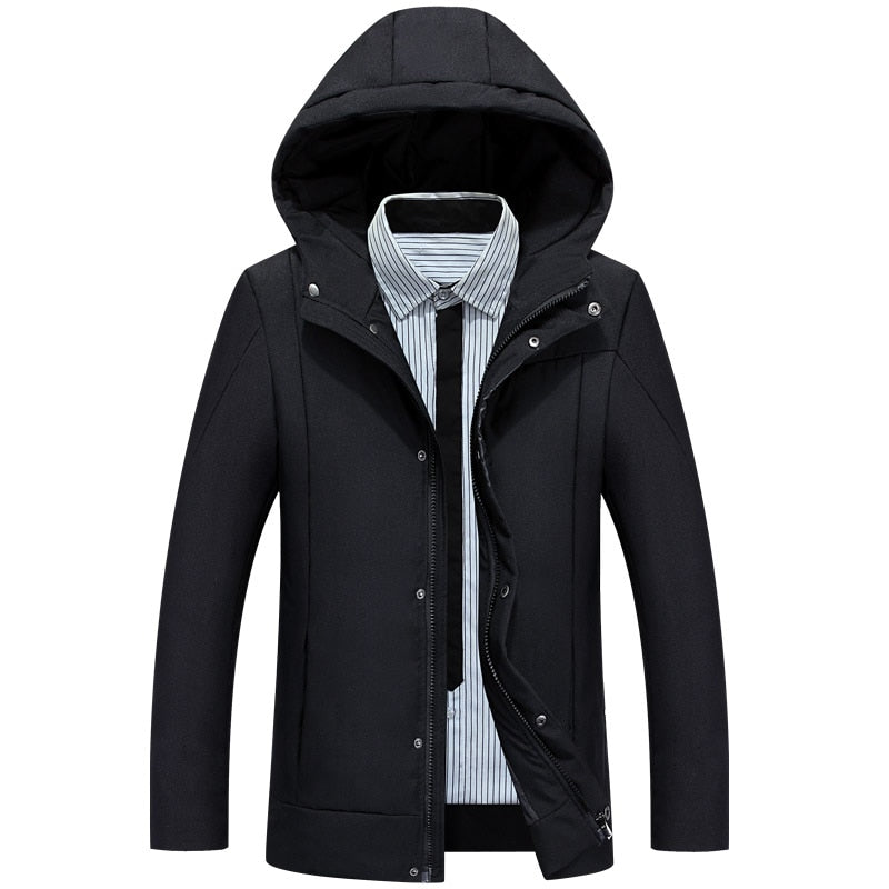 2018 High-end! winter fashion Men's Hooded 90% white duck down jacket coat parka outerwear j35 big size M-3XL Color 3