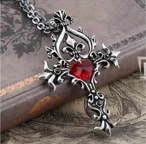 Trendy Movie Vampire Diaries Gothic Fantasy Red Cross Necklace Punk Style Men Jewelry P791 - 64 Corp