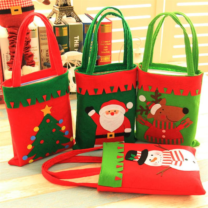 Christmas Gift Bags Candy Sweet Treat Bags Portable Christmas Handbag for Party Home Decoration