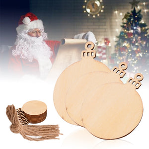 10pcs Wooden Round Baubles Tags Christmas Balls Decorations Art Craft Ornaments Christmas DIY Decors
