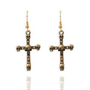 """Rocker Chic"" Antique Gold Tone Alloy Sugur Skull & Cross Day of the Dead Earrings 