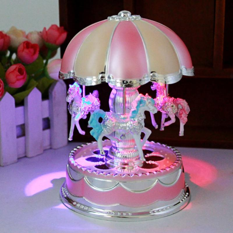 LED Light Merry-Go-Round Carousel Music Box Kids Children Girls Christmas Birthday Gift Toy Wedding Party Holiday Decoration