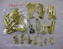 3-24pcs Plastic Gold Plated Mini Instruments Pendant Christmas Tree Hanging Ornament Diy Decoration Craft Small Instrument