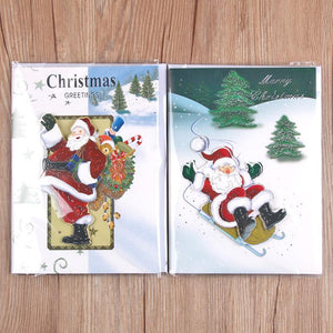 Music 3D Laser Cut Christmas Tree and Santa Claus Paper Card Handmade Merry Christmas Greeting Cards Xmas Gifts 5pcs/lot