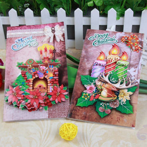 8pc New year Christmas Decorations Tree Music 3D Pop Up Greeting Cards With Envelope Laser Postcard Hollow Party Wedding Gift