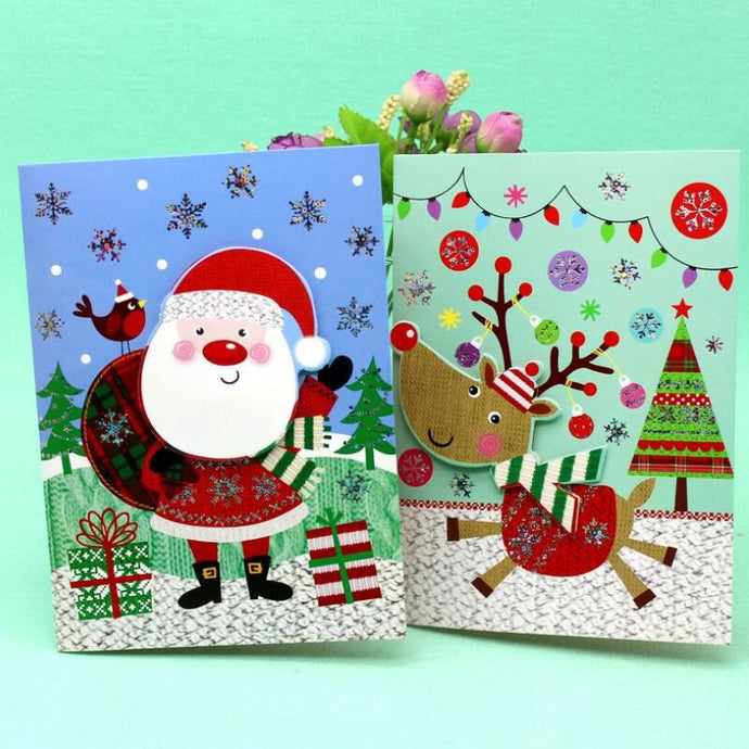 10 Pcs/lot Creative Christmas Music Greeting Card Small Postcards Holiday Universal Message Greeting Card Free Shipping