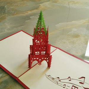 (10 pieces/lot)3D Architectural Perspective Bell Tower Travel Greeting Cards Handmade Paper Art Music Series Christmas Cards