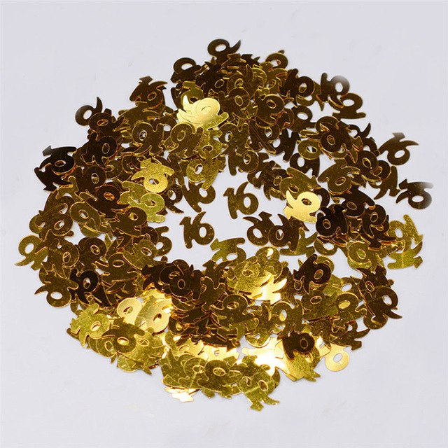 Gold Digitals 16 18 30 40 50 60 Confetti Happy Birthday Wedding Party Numbers Table Scatters Decor Sprinkle Party Supplies