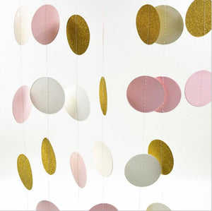 Party Banners Streamers Confetti Pink White and Gold Glitter Circle Polka Dots Paper Garland Banner 10 FT Banner decor confetti