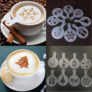 Plastic Coffee Stencils 8Pcs Christmas Cake Decor Template Cake Mold Home Bakey Cafe Barista Cake Fondant Decorating Crafts